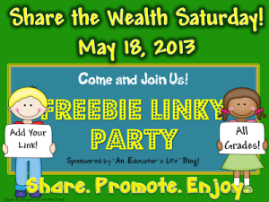 Share the Wealth-May 18th- Freebie Linky