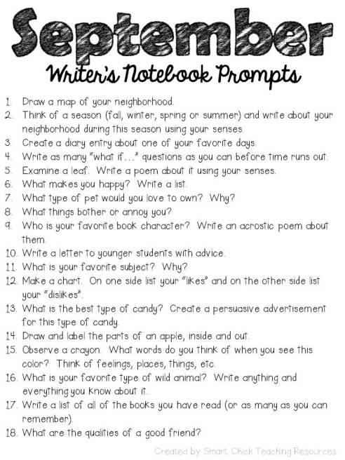 september writers notebook promts